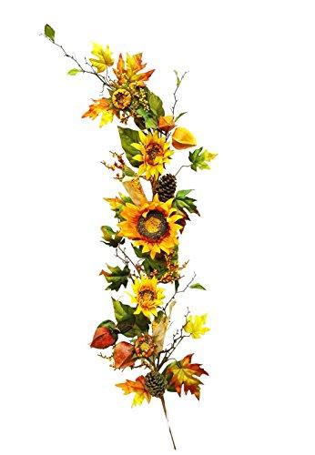 48 inches Silk Sunflower Lantern Corn Flowers Garland for Wedding Party Home Garden, Wedding Arch Garden Wall Decoration, Home Decoration - - Garden Sunflower Lantern