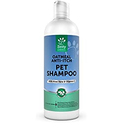 Pet Shampoo with Oatmeal for Dogs & Cats - Natural Grooming Wash for Itchy & Sensitive Skin + Dandruff & Smelly Coat - Anti Odor & Itch Flea Formula - Vanilla Bean Scent - 16 OZ