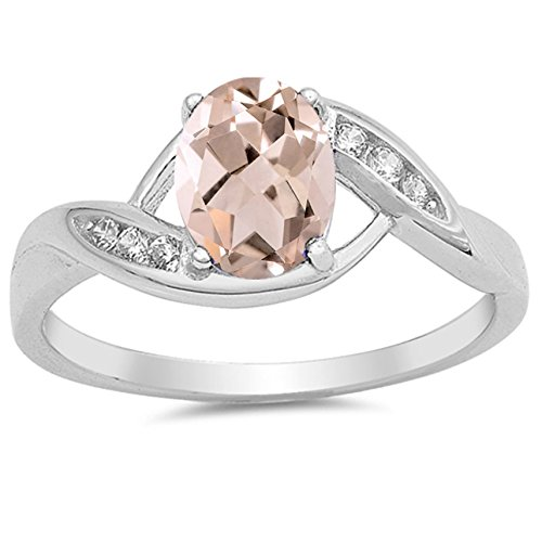 Silver Faceted Rose (925 Sterling Silver Faceted Natural Genuine Rose Quartz Oval Ring Size 8)
