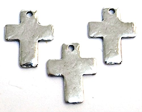 Cross Charms Pewter (Three (3) Small Pewter Hammered Cross Charms 5068)