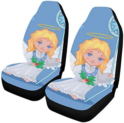 InterestPrint Universal Fit Car Seat Covers 2 Piece Automotive Car Seat Protector Front Seats Car Mat Cushion Angel Pattern