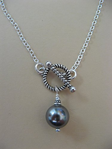 Swarovski Crystal Glass Gray Pearl Chain Necklace with Front Toggle Closure Artisan Jewelry