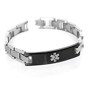 My Identity Doctor Mens Medical Alert Bracelet with Free Engraving, 316L Steel Link