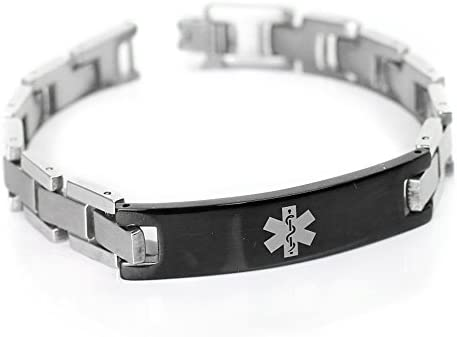 My Identity Doctor – Men s Pre-Engraved Customized Blood Thinners Medical Bracelet, Stainless Steel, Black ID – Wrist Size – 6.75 Inches-17.1cm