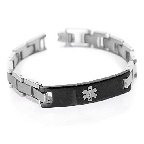 My Identity Doctor - Mens Medical Alert Bracelet with Engraving, 316L Steel Link