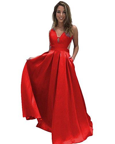 Taschen Lovelybride Neck A Rot Ärmellos V Linie mit Abendkleider Rückenfrei Lange U6zxU