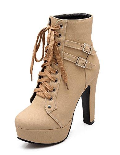 Minetom Couleur Chaussures Talons Automne Mode Bottines Hiver Unie Stilettos Beige Lacets Rond Femmes Bout Zipper UrvqwUO
