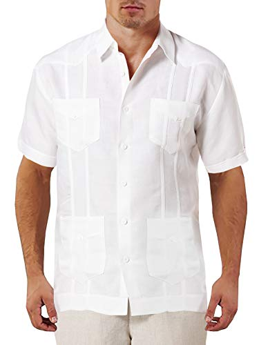 (Beotyshow Mens Cuban Guayabera Camp Shirts Lapel Spread Collar Button Down Short Sleeve Columbia Casual Cotton Linen Plain Oxford Shirt with Chest Pockets for Men White)