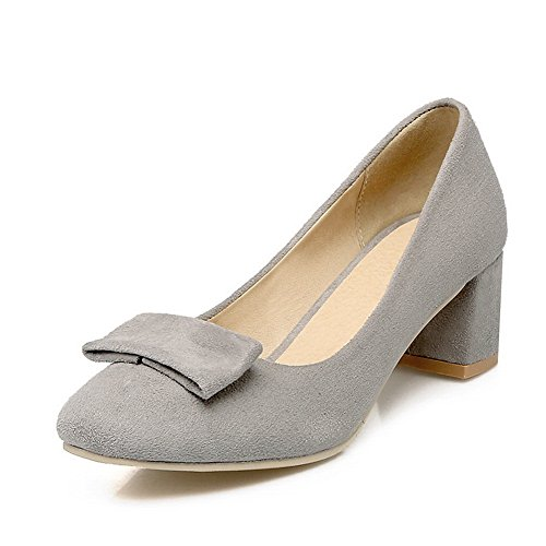 BalaMasa Womens Round-Toe Pull-On Chunky Heels Urethane Pumps-Shoes Gray jj5R1nN