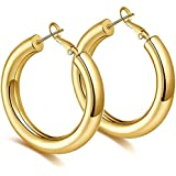 Large Hoop Earrings Lightweight Hollow Hypoallergenic Thick Gold Hoops for Women High Polished 18k Gold Plated Click-Top,30mm