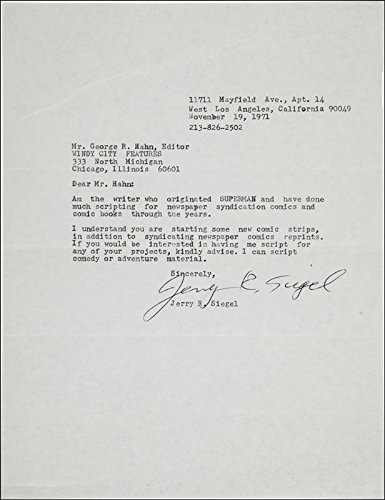 Jerry R. Siegel Typed Letter Signed 11/19/1971