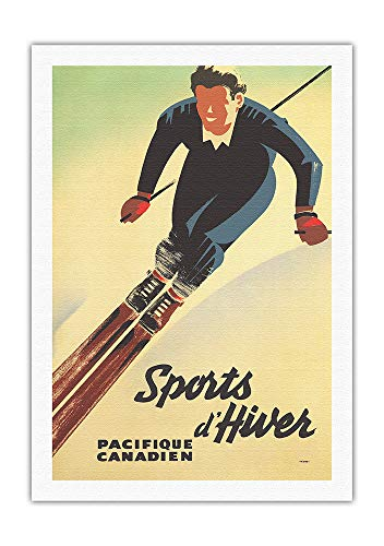 Pacifica Island Art - Canada Winter Sports (Sports d'Hiver) - Canadian Pacific - Vintage Railroad Travel Poster by Peter Ewart c.1940 - Fine Art Rolled Canvas Print - 27in x 40in