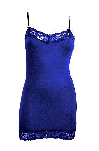 Zenana Womens Lace Trim Camisole Layering Tank -Bright Royal -Large