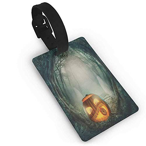 Boarding Tags Halloween,Drawing of Scary Halloween Pumpkin Enchanted Forest Mystic Twilight Party Art,Orange Teal Straps Suitcase -