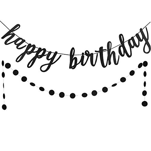 Black Glittery Happy Birthday Banner and Black Glittery Circle Dots Garland(25pcs Circle Dots) -Birthday Party Decoration -