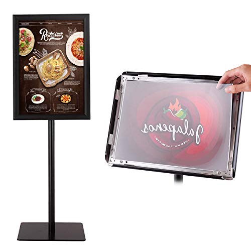 (Goplus A3 Adjustable Pedestal Poster Stand Snap-in Frame Store Sign Holder w/Heavy Square Steel Base 11'' x17'')