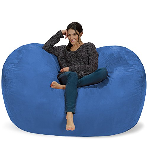 Chill Sack Bean Bag Chair: Huge 6' Memory Foam Furniture Bag and Large Lounger - Big Sofa with Soft Micro Fiber Cover - Royal Blue ()