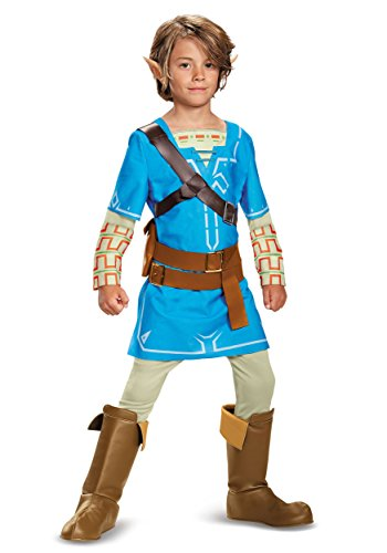 Link And Zelda Costumes (Link Breath Of The Wild Deluxe Costume, Blue, Small (4-6))