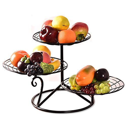 Xiao-bowl2 Three Layers Metal Fruit Cake Rack Creative Living Room European Style Snack Dried Fruit Plate Multi-layer Snack Dishes Cake Stand (Black/Champagne Gold 28 30cm) (Color : Black)