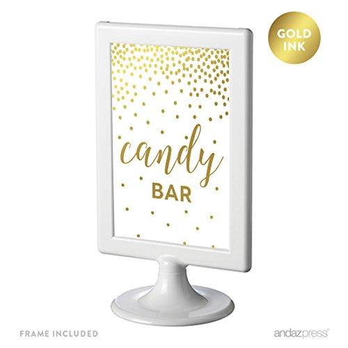 Andaz Press Framed Wedding Party Signs, Metallic Gold Confetti Polka Dots, 4x6-inch, Candy Bar Reception Dessert Table Sign, Double-Sided, 1-Pack, Includes Frame