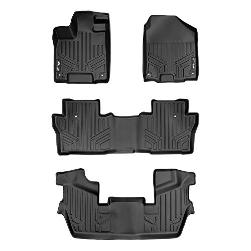 MAXLINER Custom Fit Floor Mats 3 Row Liner Set Black for 2016-2019 Honda Pilot 7 Passenger Model