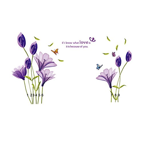 Sylvia QE Purple Lily Wall Stickers, Bedroom Dining Room Living Room Office Hall Decor Wall Decoration for Kids and Adults in Different Occasion