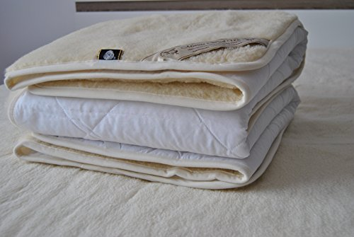 Full Wool Mattress Pad - Merino wool Mattress Protector Pad Wool Sheet Woolmark certified !! Reversible Mattress Topper Luxury & Warm & Reversible 100% Merino Wool Underblanket (FULL 54