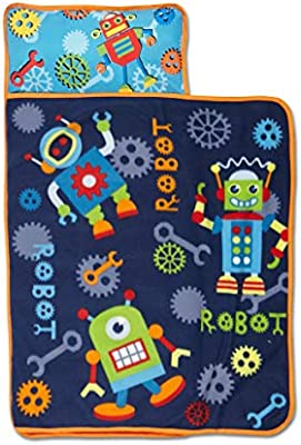 Great for Boys and Girls Napping at Daycare Baby Boom Nap Mat Set Preschool Kid Friendly Design Fits Sleeping Toddlers and Young Children Includes Pillow and Fleece Blanket or Kindergarten