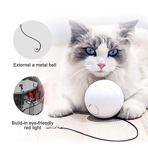 HomeRunPet Cat Toy, Smart Interactive Cat Toy Ball, 360 Degree Self Rotating Cat Toy with Bell, Built-in Red Light Pet Toy (Batteries Included)