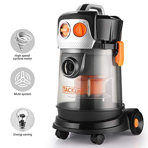TACKLIFE Wet Dry Vacuum, 3 in 1, 4 Gallon 4 Peak Hp 17.5kpa, Transparent Body, High Speed Cyclone Motor, 5m Power Cord+1.5m Hose, Suitable for Bathroom, Kitchen, Garage – PVC02D