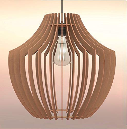 Lampadario rustico moderno in legno Paralume , Design Vaso , Dimens. extra
