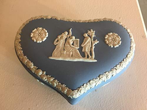 Wedgwood Vintage Blue & Cream Jasperware Heart Vanity Dresser Box