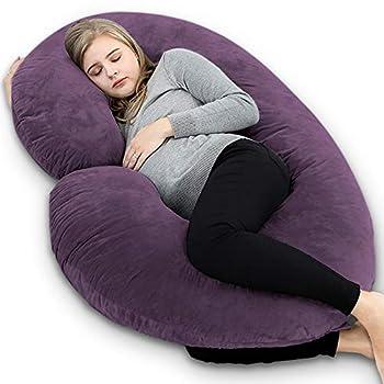 INSEN Pregnancy Body Pillow,Full Body Pillow,C Shaped Full Body Pillow with Velvet Cover (Dark Purple Velvet)