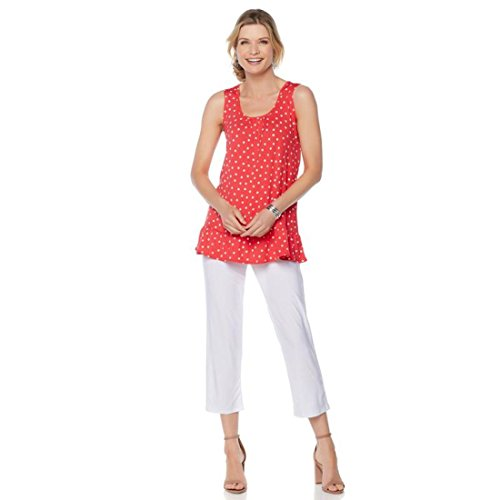 Slinky Brand Slvless Printed Tunic Crop Pant Set Coral Dot White M New (Dot Slinky)