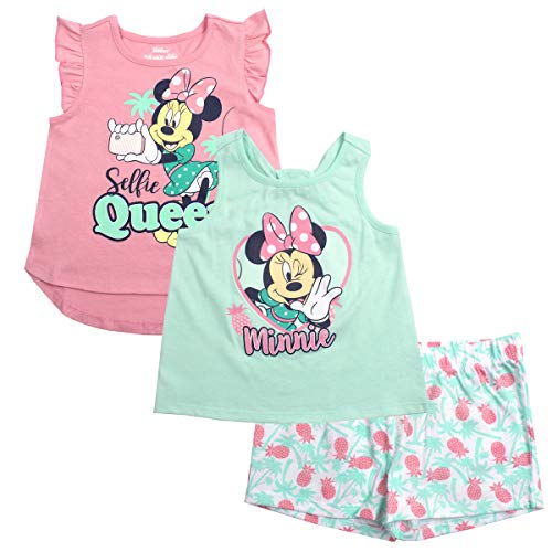 Disney Girls 3PC Shirts and Short Set: Wide Variety Includes Minnie, Frozen, and -