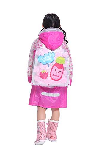 Raincoat Rainwear (Aircee TM Kids Teens Jacket Rain Poncho Raincoat Hooded School Bag Cover Rainwear (L (Fit 3'11''~4'3'' height), Pink))