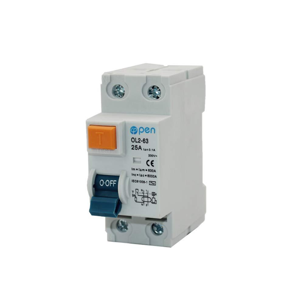 OL2/ /63/2p 25/a 100/mA elettromagnetica residua corrente interruttore differenziale per sovraccarico//perdite//protezione da corto circuito