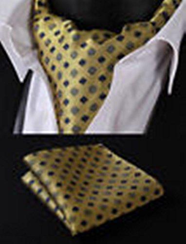 Olive Martini Costume (Mondaily DL207G Olive Yellow Floral Silk Cravat Scarves Ascot Tie Hanky Handkerchief Set #PPTE4884)