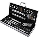 Professional BBQ Grill Kit by PORT: 16-Piece Stainless Steel Barbecue Tool Set | Heavy Duty Grilling Utensils In Portable Aluminum Storage Case | Dishwasher Safe | Ideal Gift For Sale