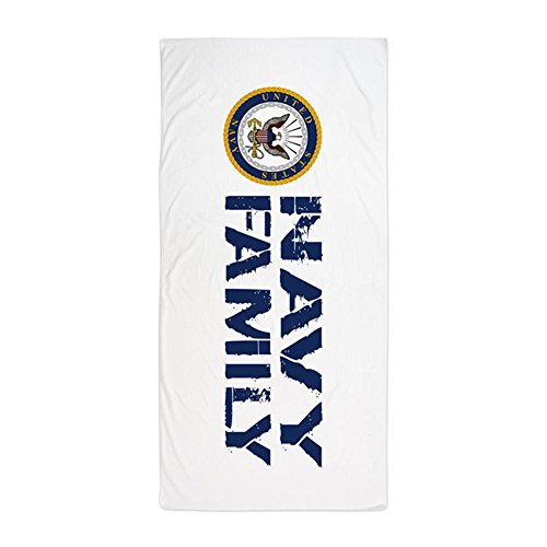 (CafePress U.S. Navy: Navy Family (Blue & White) Large Beach Towel, Soft 30