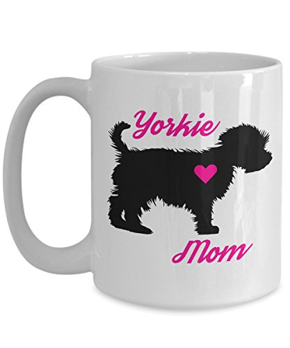 Yorkie Mom Mug - Novelty Coffee Cup For Yorkshire Terrier Lovers - Best Christmas, Mother's Day & Holiday Gift Item Idea For Women Teacup Dog Owners - Novelty Pet Quote - Ceramic Jar Handbag Cookie