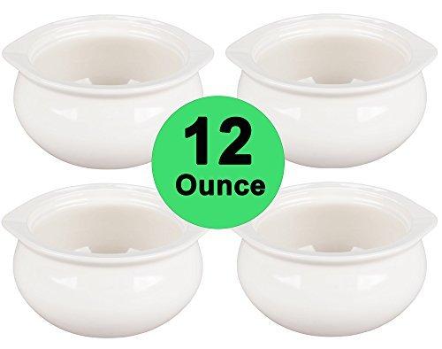 Real 12onza–Tacho de porcelana blanca sopa de cebolla cuencos conjunto de 4