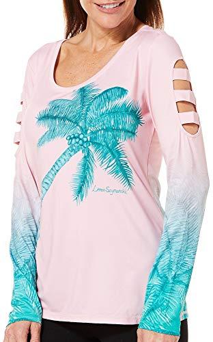 aee66943b24b9c Reel Legends Womens Keep It Cool Palm Trees Caged Top Medium Pink Aqua Green