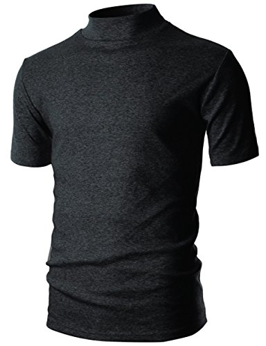 (Ohoo Mens Slim Fit Flice Short Sleeve Pullover Lightweight Mockneck/DCT105-CHARCOAL-XL)