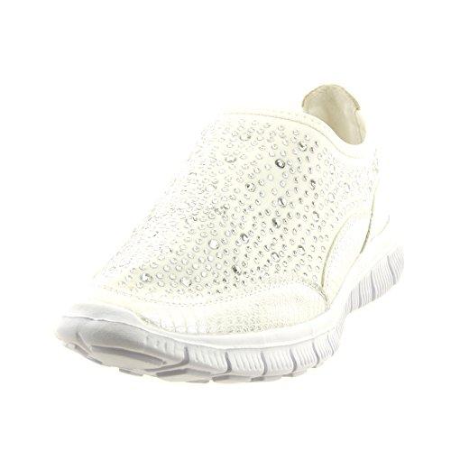 Sopily - Scarpe da Moda Sneaker slip-on alla caviglia donna strass pelle di serpente Tacco a blocco 2 CM - soletta tessuto - Bianco