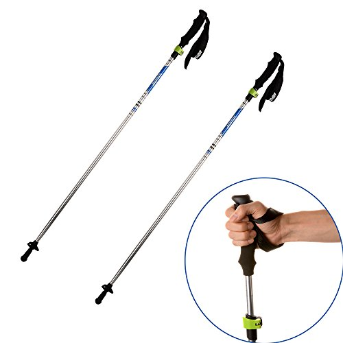 AGPtek Folding Ultralight 7075 Aluminum Trekking Pole Collapsible Alpenstocks, Adjustable Hiking Stick telescoping Climbing Stick with EVA Foam Handle for Travel Backpacking/ Hiking / Walking(2 pcs)