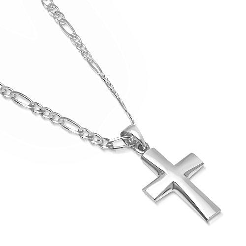 764982b935971e XP Jewelry Sterling Silver Plain Cross Pendant Italian Made 3.0mm Figaro  Chain Necklace - 080