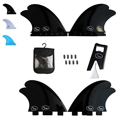 Ho Stevie! Fiberglass Reinforced Polymer Surfboard Fins - Quad (4 Fins) FCS or Futures Sizes, Choose Color (Black, FCS) (Quad Fins)