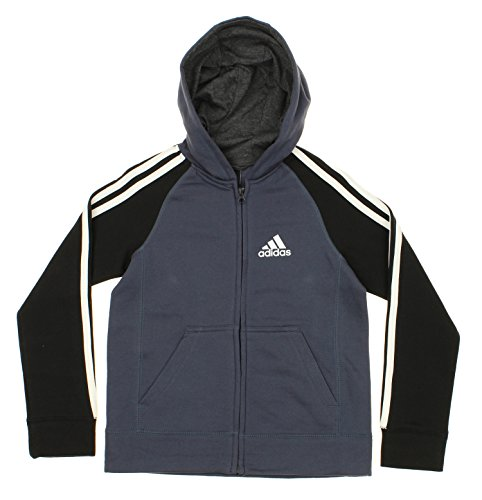 Price comparison product image adidas Youth Boy's Full-Zip Three Stripe Hoodie,  Medium Grey / Black