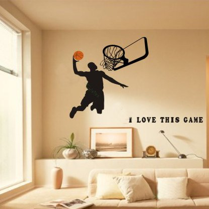Basketball wall decals basketball lines with basketball for Sports decals for kids rooms
